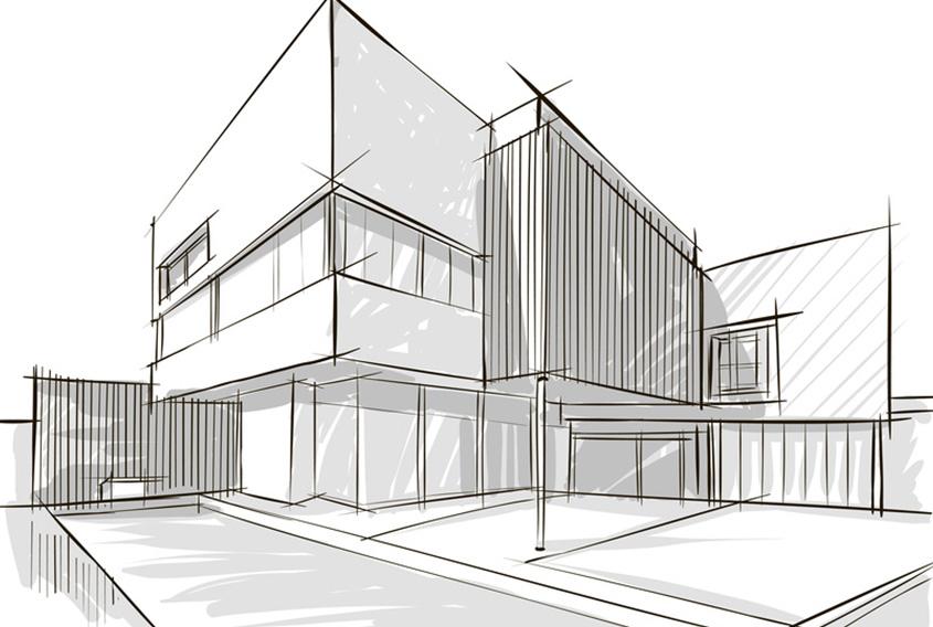Architektur Zeichnung einer großen und modernen Stadtvilla