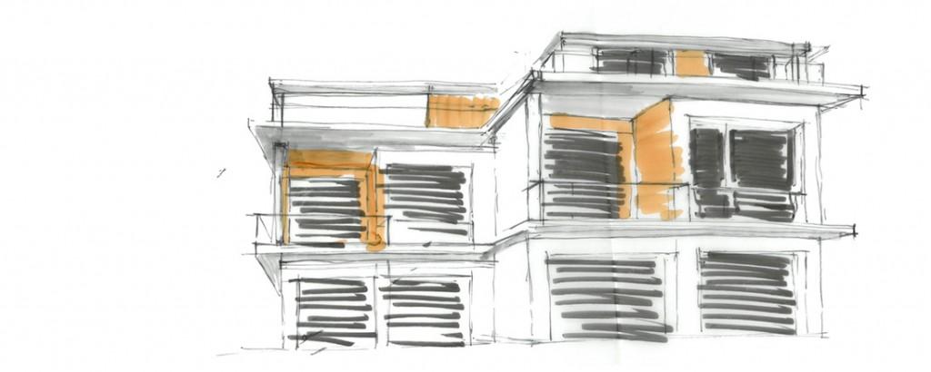 Skizze eines Bauprojekts