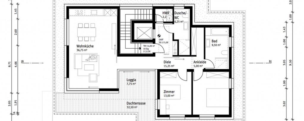 Plan eines Bauprojekts